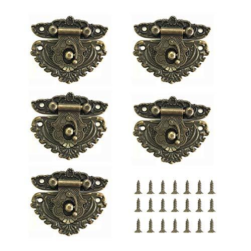 Juland 5PCS Antiquität Verriegeln Haken Hasp Bronze Vintage Dekorativ Schubladenschrank...