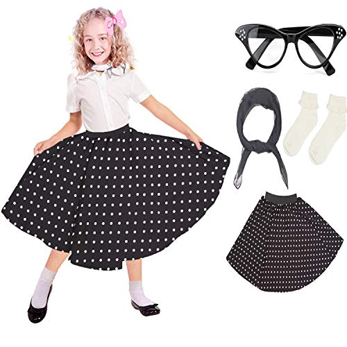 Vintage Kostüm Mädchen - Beelittle 50er Jahre Kostüm Zubehör Set Mädchen Vintage Polka Dot Rock Schal Stirnband/Bobby Socken Cat Eye Brille 50er Jahre Kind Kostüm (C-Black)