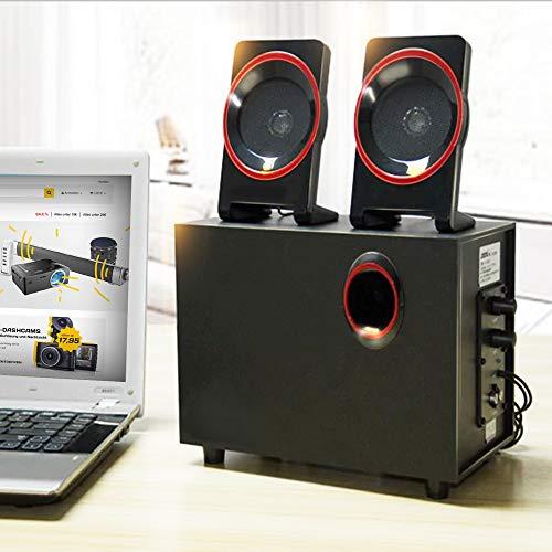 KawKaw 2.1 Multimedia Soundsystem Mit Zwei 5W Satellitenlautsprechern Und Subwoofer Boxen, Ideal Geeignet Als PC Lautsprecher, Für Heimkino Surround Sound Oder Als Musikanlage Für Ihre Party