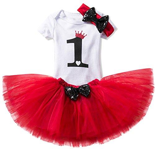 NNJXD Mädchen Newborn 1. Geburtstag 3 Stück Outfits Strampler + Tutu Kleid + Stirnband Größe (1) 1 Jahr Rot (Kleid Ersten Geburtstag)