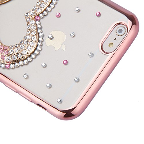 iPhone 6 Plus Hülle,iPhone 6s Plus Case,iPhone 6 Plus Bling Case - Felfy Ultradünne Transparent Gel TPU Silikon Diamond Skin Bling Glitte Kristall Schutzfolie Glitzer Silber Silikon Crystal Case Durch C18
