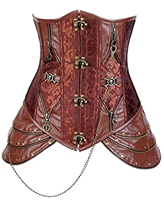Lucea Women's Retro Brocade Steel Boned Steampunk Faux Leather Underbust Corset