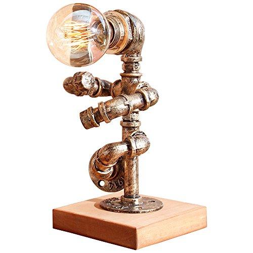 Lithx Industriel Vintage En Métal Fer Forgé Lampe de Bureau Steampunk Rustique Tuyau D'eau Table Lumière de Bureau Lumière pour la Maison Chambre Bibliothèque Hôtel Nuit de Bureau (interrupteur à bouton)