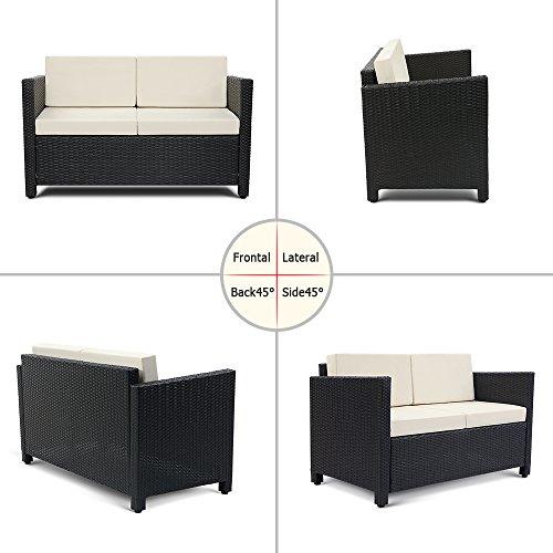 Ikayaa 4pcs divano esterno in rattan patio furniture set - Divano in vimini ...
