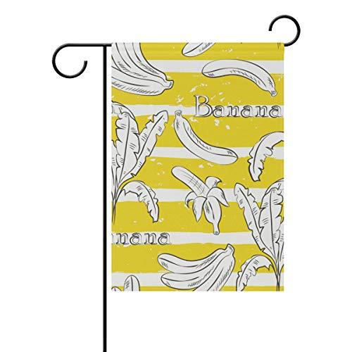 DEZIRO Sketch Banana Hofflagge Custom Gartenflagge doppelseitig, Polyester, 1, 12x18(in)