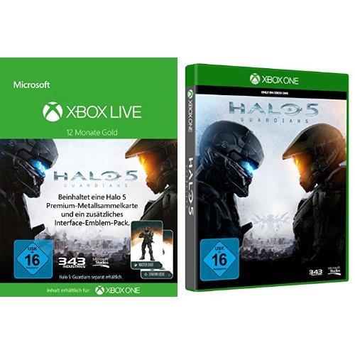 Xbox Live - Gold-Mitgliedschaft 12 Monate + eine Halo 5 Sammelkarte + Halo 5: Guardians Tv Guardian Hd