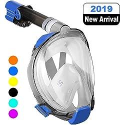 WSTOO Masque de Plongée, Masque Snorkeling Plein Visage Pliable Anti-Buée et Anti-Fuite, 180 Visible Snorkel Masque avec la Support pour Caméra de Sport, Adapté pour Adulte et Enfant