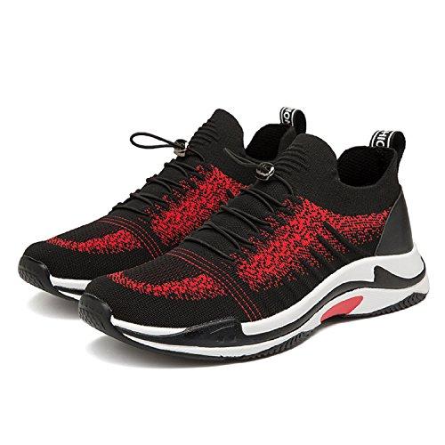 LILY999 Uomo Scarpe da Ginnastica Corsa Sportive Running Basket Sneakers Fitness Interior Casual Respirabile all'Aperto Nero/Rosso