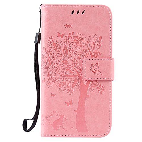 ISAKEN Kompatibel mit Galaxy S5 Hülle, PU Leder Flip Cover Brieftasche Geldbörse Wallet Case Handyhülle Tasche Schutzhülle Etui mit Handschlaufe Strap für Samsung Galaxy S5 Neo - Baum Katze Pink (Galaxy Samsung London Case S5)