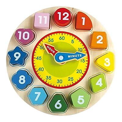 Reloj de Madera Juguete para Niños - Juguetes para Niños con Números y Formas Que Clasifican Bloques, Juegos de Juguetes de Madera Increíbles de Oxford para Niñas y Niños por Zhejiang Bella Luna Baby Products Co., Ltd