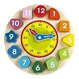 Reloj de Madera Juguete para Niños - Juguetes para Niños con Números y Formas Que Clasifican Bloques, Juegos de Juguetes de Madera Increíbles de Oxford para Niñas y Niños