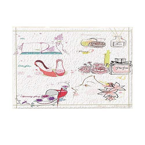 vrupi Girly Decor Fashion Make-up-Thema mit Parfüm und High Heels in Blumen Badteppiche rutschfeste Fußmatte Boden Eingänge Indoor Haustürmatte Kids Bath Mat 15.7x23.6in Badezimmerzubehör