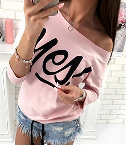 BESTHOO Donna Stampata Lettera Collo Rotondo Manica a 3/4 Sciolto T-Shirt Camicia Maglietta Orlo Irregolare Camicetta Tops Pink