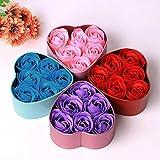 HONG98 Flor de jabón Rosa - 6 Piezas Corazón perfumado Baño Pétalo Flor de Rosa Jabón Decoración de la Boda Regalo Mejor para el Día de San Valentín, Día de la Madre, Navidad, Cumpleaños (Púrpura)