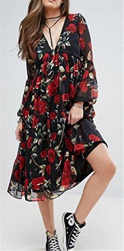 Sexy Tiefer V-Ausschnitt Hohe Taille Blumenmuster Ballon-Ärmel Langarm Midi Midikleid Hängerkleid Trapez Mutterschaft Dress Kleid Schwarz