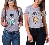 Ziwater Best Friends Tshirt Für 2 Mädchen mit Aufdruck Milch und Gebäck Lustige Passende Kurzarm Damen von (Milch-L+Gebäck-S, Grau)