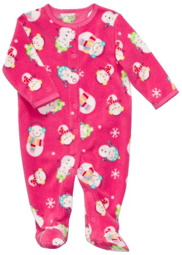 Carter's Overall Strampler Einteiler Fleece girl Mädchen Schlafanzug Schneemann (0-24 Monate) pink (62/68) (Carters Fleece-overall)