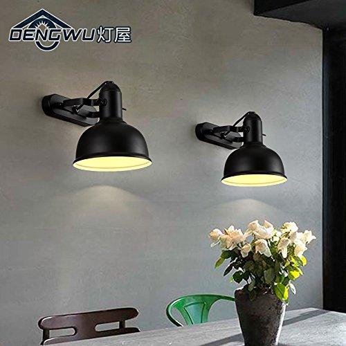 BBSLT Creativo dell'annata industriale muro ferro loft soggiorno camera da letto letto balcone corridoio lampada (2 Ferro Loft)