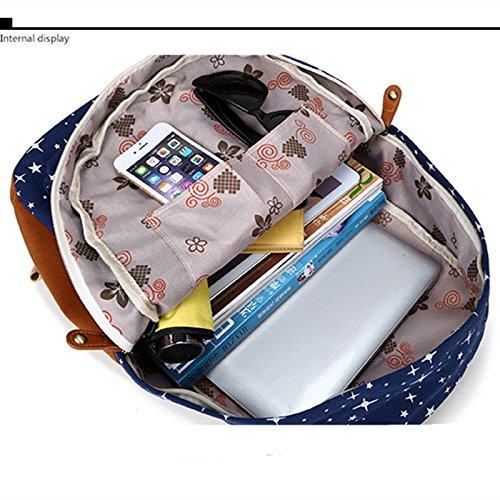 Minetom Damen Schulrucksack Bling Sterne Schulranzen Schultasche Rucksack Freizeitrucksack Daypacks Backpack 2 Stücke Rosa