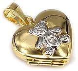 Kinder Medaillon Herz Gold 375 mit Teddy Teddybär Anhänger Gelbgold 9 karat