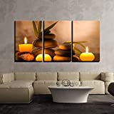 #7: 3 Piece Canvas Wall Art - Gold Color Abstract Artwork - Modern Home Decor Stretched and Framed Ready to Hang -18 inch x 12 inch x 3 (Total 18 inch x 36 inch) Panels By Paper Plane Design