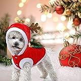 JIMACRO Dog Christmas Clothes Pet Santa Suit Cute Reindeer Dog Costume Cat Costume Warm Winter Coat for Pet