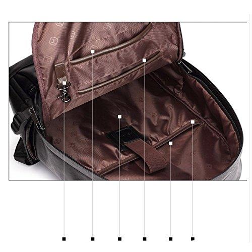 LAIDAYE Herrenmode Reise Schultern Laptop-Tasche Schultertasche Rucksack Reisetasche Brown