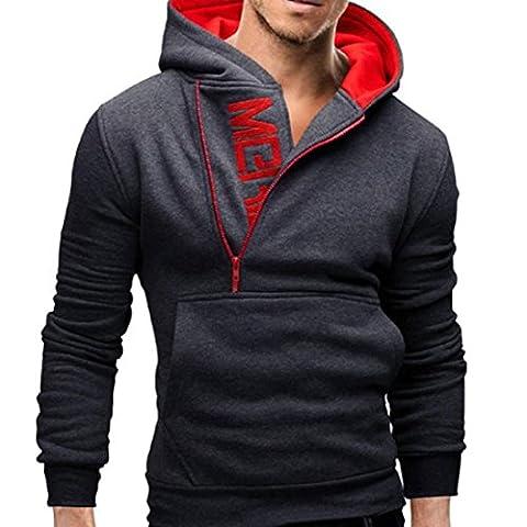 Tonsee Homme manches longues zippé Sweat capuche veste manteau chaud vêtement, Gris foncé, Asie L