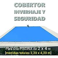 Cobertor, lona, cubierta, toldo,… de invierno para cubrir una piscina de 2 x 4 m. Medidas totales del cobertor: 2,30 x 4,30 m. Incluye: Cobertor + Anclajes escamoteables 100% inox + Tensores de 8 mm + Saco de almacenaje. Color: Azul y negro en el reverso. Opacidad total – Forma: rectangular.