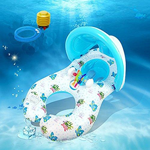 UNTIL YOU】Mit Vorzelt Umweltfreundlich PVC Doppel Mutter Ring Kleinkinder Schwimmen Schwimmen Ring Gepolstert Kindersitz Baby Schwimmhilfen Schwimmen Ring (Mother & Baby Ring mit Sonnenschutz)