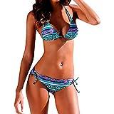 IZHH Damen Push-Up Bikini, Brasilianischer Bikini-Set Bademode Halter Weste Tops Badeanzug Strand Badeanzug DREI-Punkt-Sling Bohemian Print Bademode Damen Bandeau Bikini Micro Bikini(Blau,L)