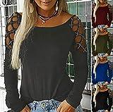 Cinnamou Femme Blouse T Shirt Top Vêtements Dentelles Tee-Shirt Moulant Serré Rayé Correspondance des Dos Longue tête Mort Boho Cocktail Oreiller