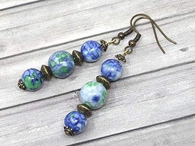Boucles d'oreilles trio en bronze et perles de jade blanc teinté en bleu et vert