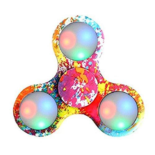 Preisvergleich Produktbild LED-Licht Fidget Hand Spinner Spielzeug Finger Gyro Ball für Autismus Angst Sufferer reduzieren Spielzeug für Kinder über Alter 12 (D)