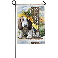 Goden jinhua Garden Flag Welcome Dog Spring Summer Decorative House Small Decor Flags For Indoor Outdoor Decoration,12 X 18 Inch/18 X 27 Inch