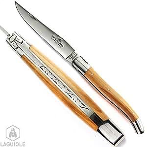LAGUIOLE couteau en bois d'olivier. Le Vrai Couteau fabrication française et artisanale, à manche en bois d'olivier Modèle à motif du ressort un peu plus épuré garanti fait main à l'ancienne par notre coutelier Fabriqué à l'ancienne, CHAQUE MODELE est UNIQUE , poinçonné et numéroté, livré avec certificat d'authenticité