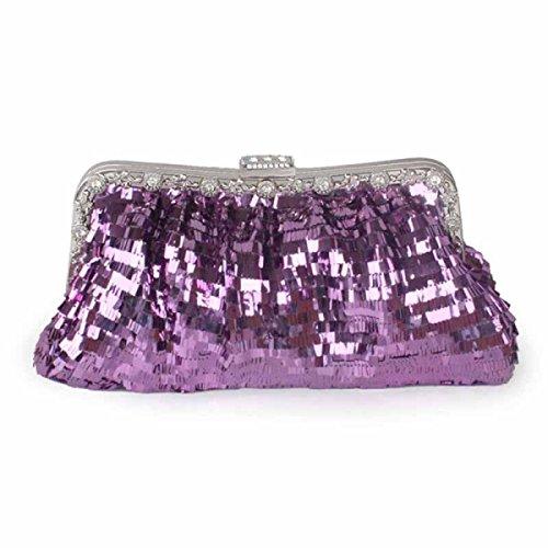 Nuove Paillettes Fibbia Signore Delle Donne Borsa Da Sera Borsa Cosmetica Cellulare Purple