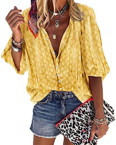 Damen Bluse Elegant Langarm Freizeit Tunika Oberteil Button Down Shirts Blusen Tops(Gelb,XXL