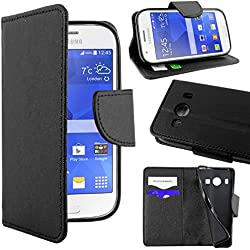 ebestStar - Compatible Coque Samsung Ace 4 Galaxy SM-G357FZ Etui PU Cuir Housse Portefeuille Porte-Cartes Support Stand, Noir [Appareil: 121.4 x 62.9 x 10.8mm, 4.0'']