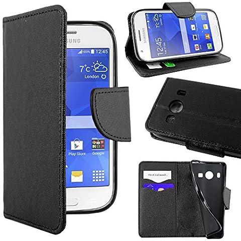 ebestStar - pour Samsung Galaxy Ace 4 SM-G357FZ - Housse Coque Etui Portefeuille Support PU Cuir, Couleur Noir [Dimensions PRECISES de votre appareil : 121.4 x 62.9 x 10.8 mm, écran 4'']