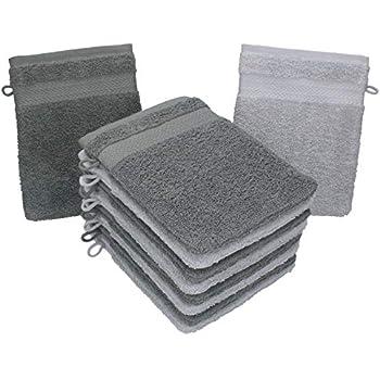 Betz 10er Pack Waschhandschuhe Premium Farbe Silber-Grau /& Weiß Größe 16x21 cm