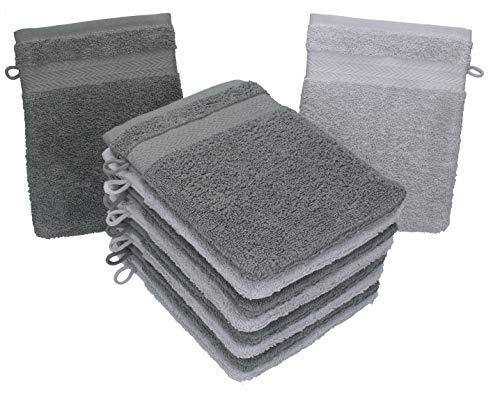 Betz 10 Stück Waschhandschuhe Premium 100% Baumwolle Waschlappen Set 16x21 cm Farbe anthrazit und Silbergrau