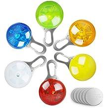6PCS Collar LED Luz de Perro, Morpilot Collar Luces Clip-On de Seguridad para Mascota, Collar Luz Luminoso Impermeable para Caminar en Noche, con 6 Baterías para Recambio