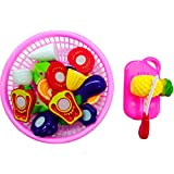 Blossom Fruit Cooking Play House Set Toy with Cutting Board, Basket, Knife & Various types of Fruits for Kids, Multi Color