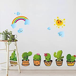 CDELEC 1PC Design Potted Self-Adhesive Waterproof Wall Stickers Staircase Entrance Can Be Removed Decorative Stickers Cartoon Cactus Cartoon DIY Decorative Wall Stickers
