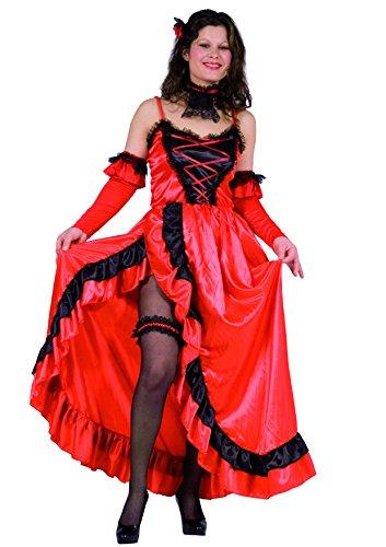 Kostüm Moulin Tänzerinnen Rouge - Blumen Paolo 25892.-Cancan Tänzerin, Größe S, rot/schwarz