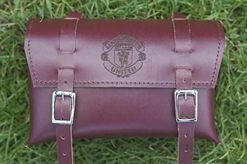 Manchester United carré classique Selle/guidon de vélo Sac en cuir véritable Cerise Marron pour outils de réparation