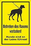 Schild - Betreten des Rasens verboten - Hunde sind an der Leine zu führen – 30x20cm | stabile 3mm starke PVC Hartschaumplatte – S00216-007-C +++ in 15 Varianten erhältlich