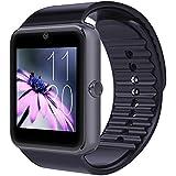 X-REEGA GT08 Bluetooth Smartwatch mit Kamera SIM-Karten-Slot und NFC-Smart-Health Watch für Android Smartphone und iPhone (Grau Schwarz-Band)