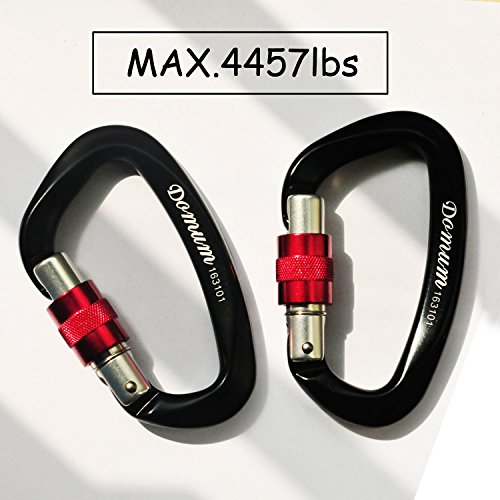 1Pair Screwgate Climbing Carabiner Black EN12275 Certified 7075 Aluminium Tensile Strength Capacity at 4457lbs Used for Rock Climbing & Hammock, 3.94in (H) Rust Free Carabiner